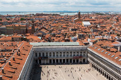 Venice Skyline: Aerial View on Saint Mark's Square in Venice and Royalty Free Stock Photos