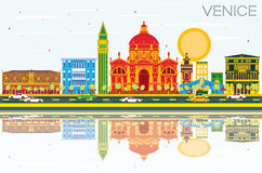 Venice Skyline with Color Buildings, Blue Sky and Reflections. Vector Illustration. Business Travel and Tourism Concept with Historic Architecture. Image for Royalty Free Illustration