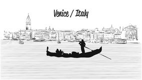 Venice skyline with Gondola, Hand drawn Vector Sketch Royalty Free Stock Image