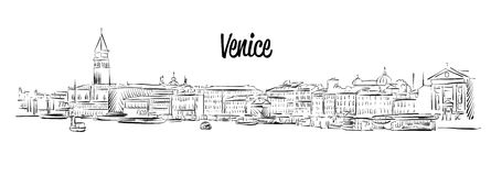 Venice Skyline, Italy, Hand drawn Vector Sketch Stock Photography