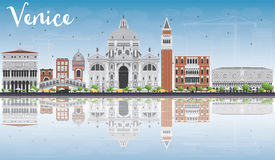 Venice Skyline Silhouette with Gray Buildings and Reflections. Stock Image