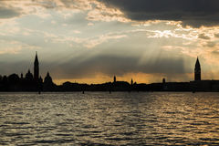 Venice skyline at sunset Stock Photo