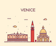 Venice skyline trendy vector illustration linear Royalty Free Stock Images