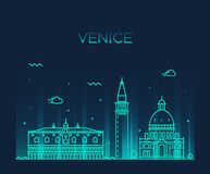 Venice skyline trendy vector illustration linear Royalty Free Stock Image