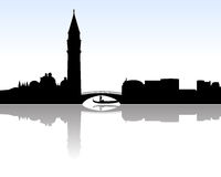 Venice skyline vector. Vectored illustration of venice skyline with most famous landmarks as saint mark basilica and the channels Stock Photos