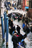 Venice, small canal and bridge Stock Photography