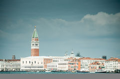 Venice with St Mark Campanile. A view of Venice with St Mark Campanile from the laguna Stock Photo