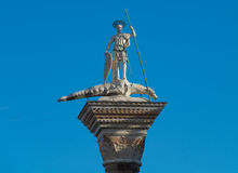 Venice. And st marks square beatiful blue sky and the symbol of statue Stock Image