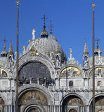 Venice - St Marks Square - Itlay. Fine mosaics and detailed staues on the Basilica in St Marks Square (San Marco) in Venice in Italy Royalty Free Stock Photo