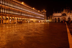 Venice St. Marks' Square at night Stock Images