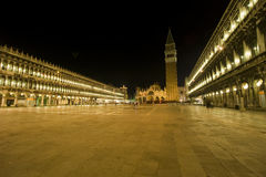 Venice: St. Marks square at night. St. Marks square with the famous tower (campanlie). This square is usually the most crowded place in Venice and very rarely Stock Photography