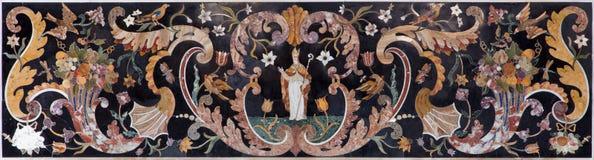 Venice - Stone mosaic from side altar in church San Francesco della Vigna. Stock Photo