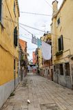 Venice, street, linen is dried, places where tourists rarely wander, Italy stock images