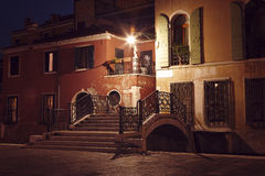 Venice street at night Royalty Free Stock Images