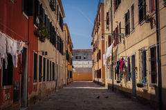 Venice streets. Colorful photo of traditional venice streets in Italy Stock Photography