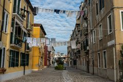 Venice streets with cloths hanging out on lines royalty free stock photos