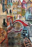 Venice streets colorful fine art oil  painting Royalty Free Stock Photos
