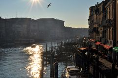 Venice in the sun. View of Venice lit with sun in Italy royalty free stock photography