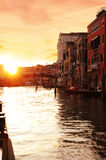 Venice Sunset. A beautiful sunset picture taken in Venice on board of a vaporetto Royalty Free Stock Photography