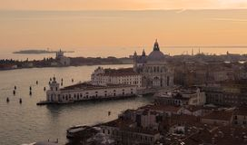 Venice at sunset. From the bell tower royalty free stock image