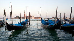 Venice sunset, Gondola. Italy. Royalty Free Stock Photos