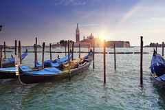 Venice. A sunset over the channel Grande and gondolas at the mooring Royalty Free Stock Photography