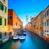 Venice sunset in San Giorgio dei Greci water canal and church ca Stock Image