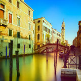 Venice sunset in San Giorgio dei Greci water canal and church ca Royalty Free Stock Photography
