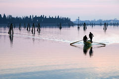 Venice sunset silhouette of men rowing. In the lagoon Royalty Free Stock Photo