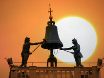 Venice Sunset. The sun setting behind the St Marks Clocktower in Venice Stock Image