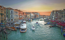 Venice sunset view from rialto Stock Photography