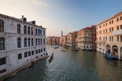 Venice / Evening view of the river canal and traditional venetian architecture. Venice / Sunset view of the river canal and traditional venetian architecture Stock Photos