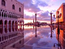 Venice, Italy, Sunset. Winged Lion and St Theodore Columns at Sunset, Venice.  Overlooking the Piazzetta and St. George Island Stock Images