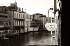 Venice Symbolism. A love padlock from a bridge in Venice Stock Photo