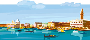 Venice to day. Hands vector illustration. Designer Evgeniy Kotelevskiy Royalty Free Stock Photo
