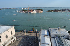 Venice from the top. View of venice from the top - san marco and the sea stock image