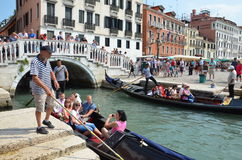 Venice. Tourists in gondolas in Italy, Venice Royalty Free Stock Images