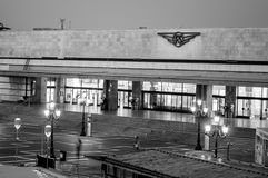 Venice train station Santa Lucia, black and white morning in italy royalty free stock photos