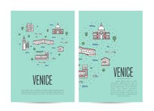 Venice travel tour booklet set in linear style Royalty Free Stock Image