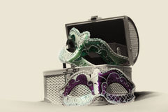 Venice treasure. A jewel box full of carnival masks Royalty Free Stock Images