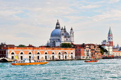 Venice. Two motor boats in water of the Grand canal. Royalty Free Stock Photography
