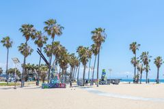 VENICE, UNITED STATES - MAY 21, 2015: Ocean Front Walk at Venice Beach, California. Venice Beach is one of most popular. Beaches of LA County stock images
