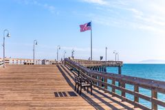 VENICE, UNITED STATES - MAY 21, 2015: Ventura Historic wooden Pier in Los Angeles, USA. VENICE, UNITED STATES - MAY 21, 2015: Ventura Historic wooden Pier in Los royalty free stock photography