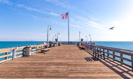 VENICE, UNITED STATES - MAY 21, 2015: Ventura Historic wooden Pier in Los Angeles, USA. VENICE, UNITED STATES - MAY 21, 2015: Ventura Historic wooden Pier in Los royalty free stock images