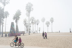 Venice, US-October 5, 2014: A couple riding a bicycle built for Royalty Free Stock Photo