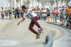 Venice, US-October 5, 2014: skateboarder that is airborne being Stock Photography