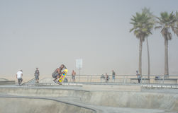 Venice, US-October 5, 2014: skateboarders on a misty morning at Royalty Free Stock Photos