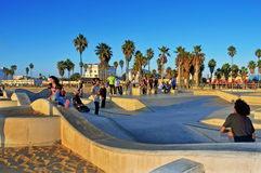 Venice Beach, United States. VENICE, US - OCTOBER 17: Skatepark of Venice Beach on October 17, 2011 in Venice, US. This skatepark, with pool, ramps, stair set Royalty Free Stock Photo
