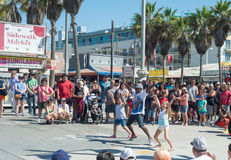 Venice, US-October 5, 2014: Venice Beach boardwalk is 2.5 miles Stock Photos
