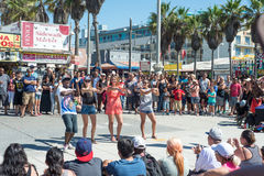 Venice, US-October 5, 2014: Venice Beach boardwalk is 2.5 miles Stock Image